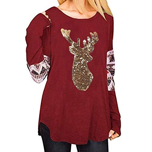 HGWXX7 Christmas Tops for Women Fashion Elk Sequins Print Long Sleeve T-Shirt - Americans Ugly T Shirt