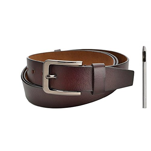 - Classic Designer Business Casual Formal Leather Belt, Genuine Leather Belt for Jeans Big and Tall Size 2 Colors (Brown)