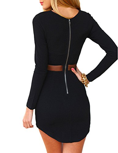 Leadingstar Women Crew Neck Long Sleeve Crop Top Midi Skirt Outfit Two Piece Bodycon Short Dress Black XL