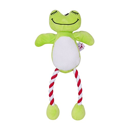 Stock Show 1Pc Pet Squeak Rope Toy, Long-Leg Plush Teeth Clean Stuffed Interactive Playtoy for Small Medium Dog/Puppy/Pup, Green -