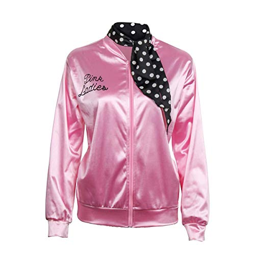 1950s Pink Satin Jacket with Neck Scarf Girls Women Danny Halloween Costume Fancy Dress Props (X-Large) -