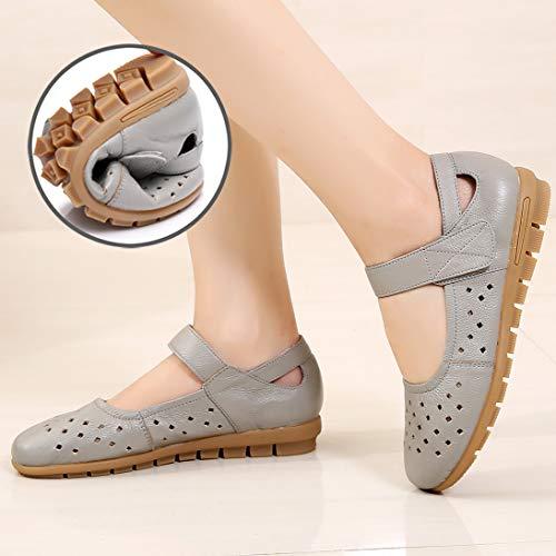 Zapatos Suaves gray Inferior Cuero Trabajo Parte Las de Zapatos Zapatos Solos la señoras Planos FLYRCX cómodos de de Huecos de nxFBgPR