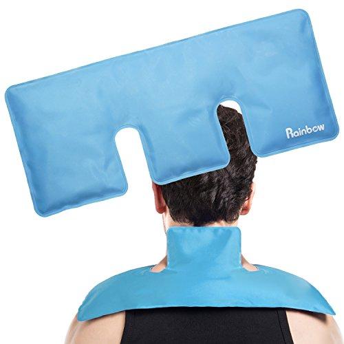 Shoulder Gel Ice Hot Cold Pack for Stiff Neck, Belly, Back (17.5″ X 7.5″, Light Blue)