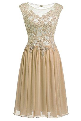 Chiffon Damen Cocktailkleider Champagne Elegant Kurz HochzeitsKleid Kleider Carnivalprom Abendkleider Brautjungfern qAxZdqw58