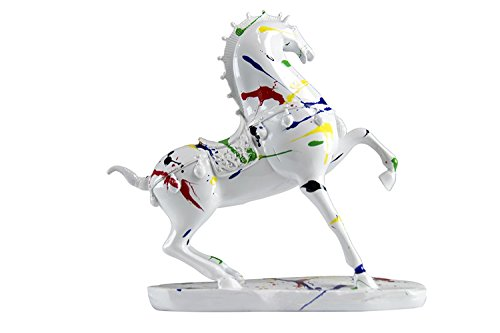 Oh! Trendy™ Stallion in Action Sculpture with Wood Style Base | Roman Style Horse Statue Home Decor – White & Color Splat -