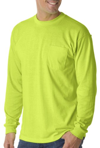 Bayside Mens Long-Sleeve Tee With Pocket (1730) -LIME GREEN -S ()