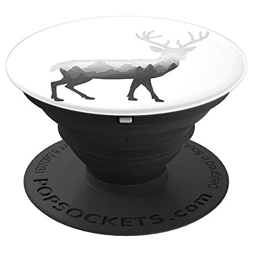 (Deer Stag Elk Double Exposure Surreal Wildlife Animal - PopSockets Grip and Stand for Phones and Tablets)