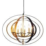 Cheap Lanros Industrial Sphere Foyer Lighting, 8-Light Vintage Pivoting Interlocking Rings Globe Chandelier for Kitchen, Entry, Restaurant, Dining Room, Black/Gold