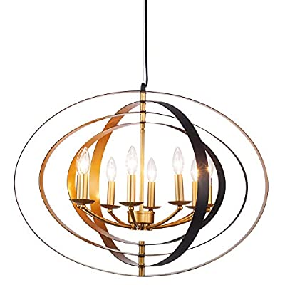 "Lanros Industrial Sphere Foyer Lighting, 8-Light Vintage Adjustable Globe Chandelier with Pivoting Interlocking Rings for Dining Room, Entry, Living Room, Stairwell, Restaurant, Black/Gold+ - AIRY AND INDUSTRIAL DESIGN: The orb chandelier, substantial, not heavy, gives off a lot of light with the 8 bulbs and casts a really pretty pattern on the ceiling, perfect blend of old and new, farmhouse and fun. ENHANCE YOUR SPACE: Taking on a globe silhouette with four rotating rings, the black and gold chandelier sit inside, shining effortlessly as its openwork shade doesn't obstruct the light, entire your spaces to elegance; Ideal for dining room, living room, master bathroom, family room, entryway bar, baby's nursery, corridor, and office. ADJUSTABLE & INSTALLATION: 28.35"" Diameter, 61.02"" Height; Includes 38"" of chain for desired hanging height (Max 38.19'' Min 5.9''). Sloped/vaulted ceiling compatible; Equipped with a convenient installation pack for you hang it up with ease. - kitchen-dining-room-decor, kitchen-dining-room, chandeliers-lighting - 41f6ud1jZvL. SS400  -"