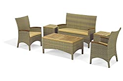 Oxford Garden Torbay 6-piece Chair & Coffee Table Chat Set - Antique Resin Wicker - Teak - Sand Cushion