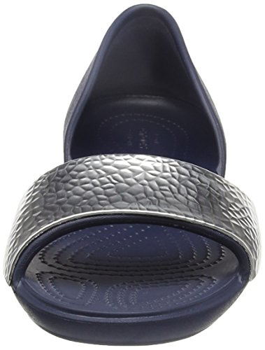 Blu Embellish Crocslina Donna silver Nvy Ballerine Crocs sil Dorsayflat navy TZwUUn0