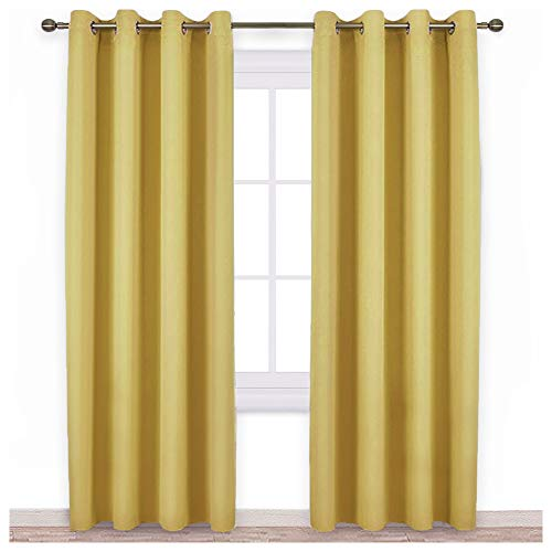 NICETOWN Patio Door Curtains and Drapes - Triple Weave Energy Saving Thermal Insulated Solid Grommet Room Darkening Panels (Yellow, 1 Pair, 52 inches by 84 Inch) (Yellow Curtains Long)