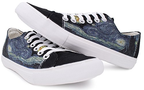 Sterrennacht Sneakers | Cute, Fun Van Gogh Sky-art Print Tennisschoen - Dames Heren Zwart