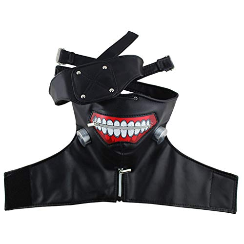 HLZG Ken Kaneki Mask for Tokyo Ghoul Anime Adjustable Black Zipper Mask Halloween Cosplay Costume Accessories Props