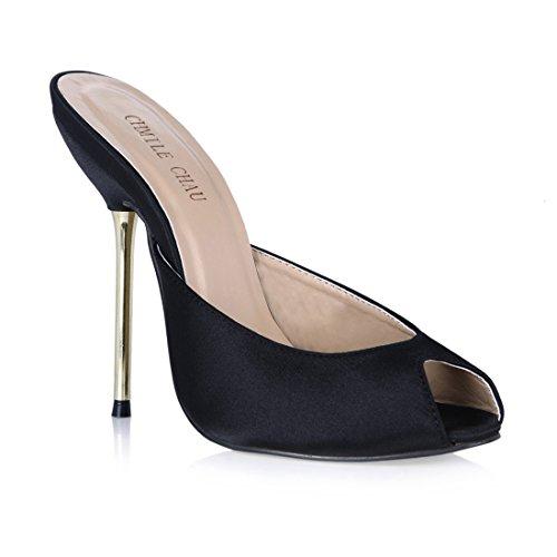 Mujer Sandalias de Met Zapatos de para Alto CHMILE Tacon Chau Aguja qHgOU