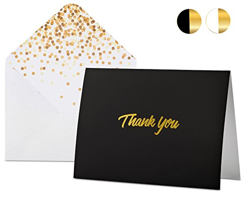 100 Thank You Cards with Envelopes - Black Gold Foil Embossed Lettering, Designer Envelopes, Perfect for Wedding, Birthday, Bar Mitzvah, Bridal/Baby Shower, Funeral, Graduation, Business by FORTIVO