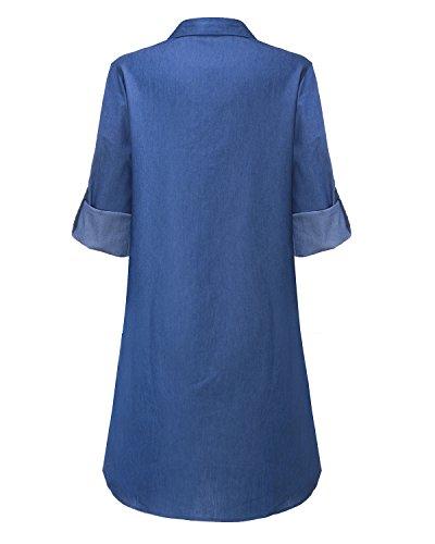 StyleDome Mujer Vestido Vaquero Corto Elegante Algodón Camisa Larga Mangas Largas Cuello Pico Fiesta Azul