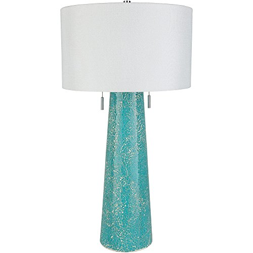 l Glass Base and Linen Shade Table Lamp, White and Blue ()