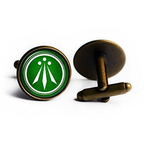 Celtic Symbol - The Awen - Three Rays of Light - White on Green Antique Bronze Cufflinks