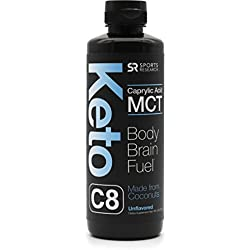 Keto MCT Oil containing only c8 Caprylic Acid ~ Made from sustainably sourced Coconuts ~ Octane Fuel for the Brain & Body ~ Vegan & Keto Diet Friendly, Gluten & Dairy Free (16oz Squeeze Bottle)
