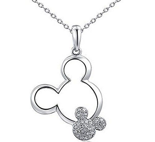 Jewelry Necklace Disney - Shining Life rose-golden Plated heart with the Disney Twins Mickey necklaces for women (silver)