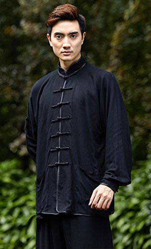 AvaCostume Chinese Mens Tai Chi Outfit Kungfu Uniform Cotton Tang Costume, Black, L