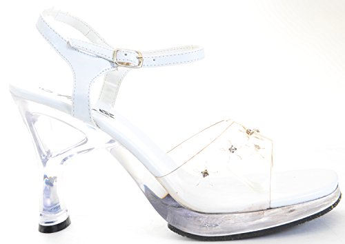 Clear Rhinestone Heel White Sandal Womens Low Heels pi6uZn7PD