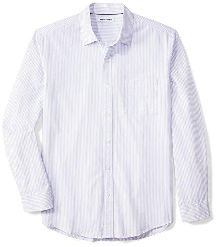 Shirt Fit Purple Stripe - Amazon Essentials Men's Regular-Fit Long-Sleeve Stripe Casual Poplin Shirt, White/Lavender Stripe, Large