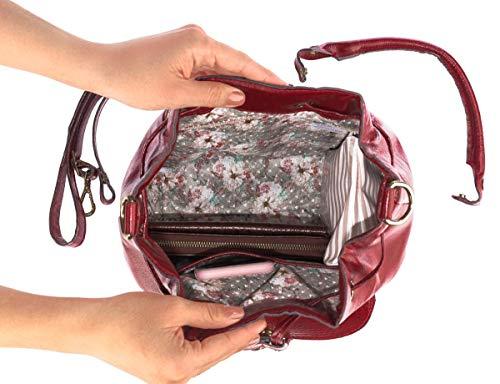 53be369ed8 Bolsa saco com bolso em couro legítimo vermelha