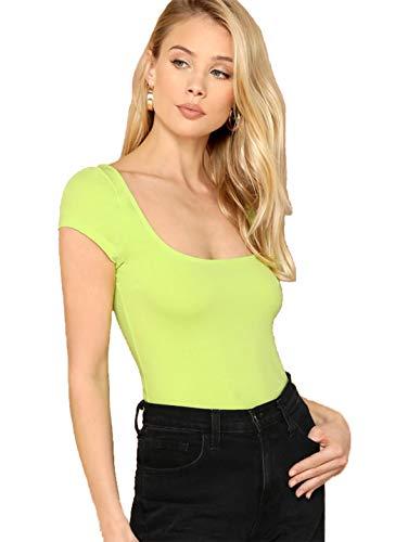 Romwe Women's Short Cap Sleeve Scoop Neck Summer Slim Fit Crop Tee Top Green S