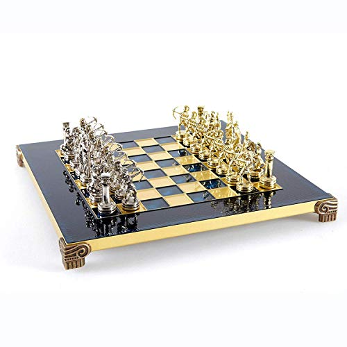 Manopoulos Archers Small Chess Set – Brass&Nickel – Blue Chess Board