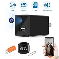 Hidden Camera, Mini USB Hidden Camera, 1080P HD Hidden Camera Charger, Wide-Angle Lens Home Security Camera, Baby Camera with Activity Detection Alert, Hidden Camera WiFi with Phone APP, Nanny Cam