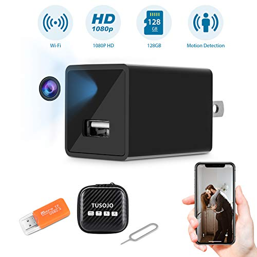 Hidden Camera Mini USB WiFi Camera Charger, 1080P Hidden Security Camera with Night Vision, Wide-Angle Wireless Camera with Motion Detection Alert, Remote View Baby Nanny Cam with Phone App