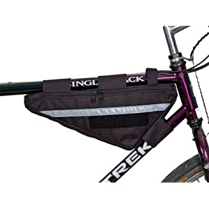 Bushwhacker Tahoe Black Bicycle Frame Bag w/ Reflective Trim Cycling Triangle Pack Bike Crossbar Top Tube Stem Bag Front Rear Accessories