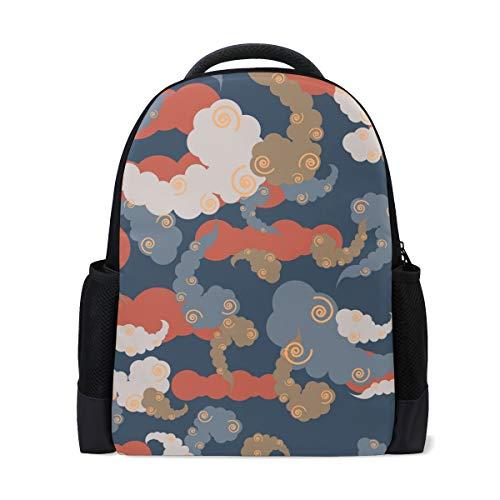 (MUOOUM Clound Colorful Vertigo Circle Polyester Backpack School Book Bag Travel Daypack)