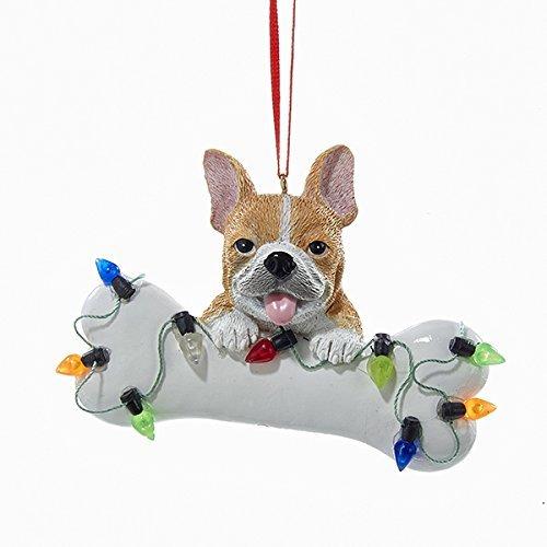 - Kurt Adler French Bulldog Puppy with Large Bone and Christmas Lights Ornament Dog A1680FB