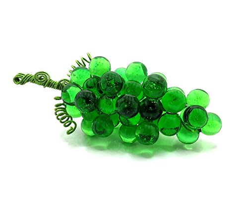 Glass Grape Cluster, Artificial Grapes in Transparent Green, Medium (Ornament Fruit Glass)