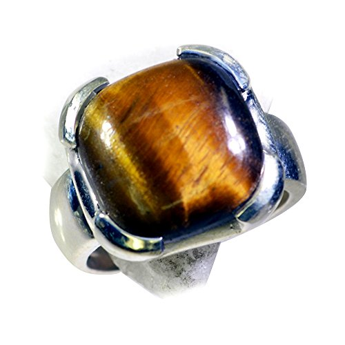 55Carat Real Tiger Eye Ring Bold 925 Silver For Men Cushion Shape Bezel Style Size (Cushion Cut Tigers Eye Ring)
