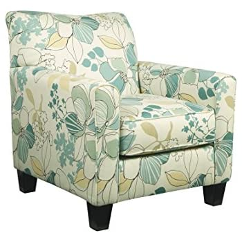 Ashley Furniture Signature Design   Daystar Accent Chair   Contemporary  Floral Pattern   Seafoam