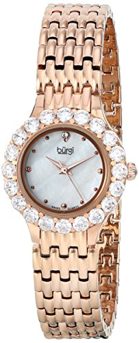 Gold Self Winding Bracelet - Burgi Women's BUR107RG Crystal Accented Rose Gold Swiss Quartz Watch with White Mother of Pearl Dial and Rose Gold Bracelet
