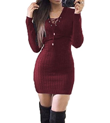 Unbranded* Women Sexy V Neck Lace Up Front Bandage Pullover Sweater Mini Dress (S, Wine Red)