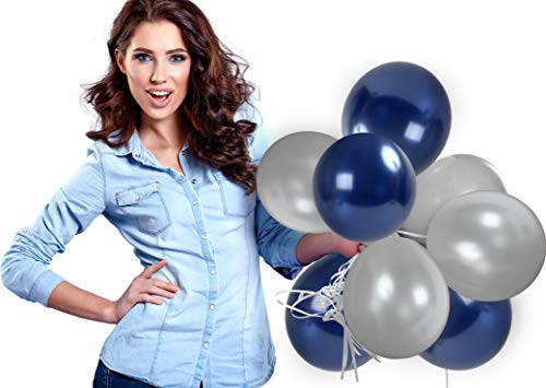 Treasures Gifted 4th of July Party Kit Silver and Navy Blue Metallic Balloons Pack of 72 and 65 Yards Curling Ribbons for Birthday Graduation Bachelorette Bridal Shower Party Supplies -
