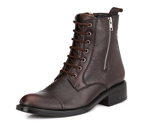 Mactree Men's Leather Cap Toe Lace Up with Double Zipper Oxford Boots 1558 9 Brown