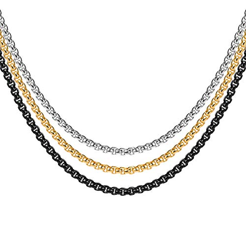 4MM 18k Real Gold Plated Black Square Rolo Chain Stainless Steel Round Box Chain Necklace Men Women Jewelry