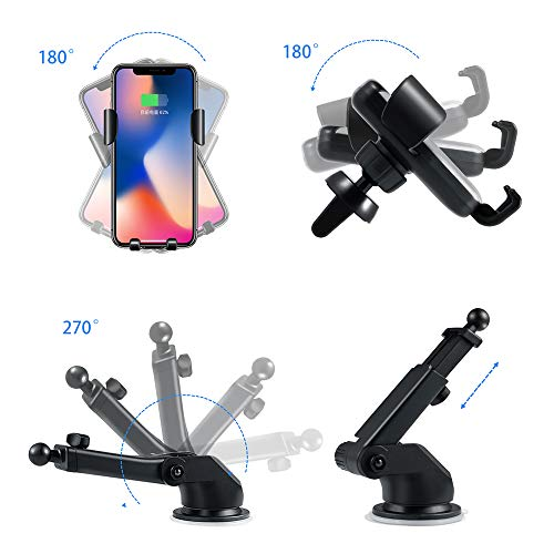 SANCEON Qi Wireless Car Charger Mount,10W Fast Charging Car Phone Holder Air Vent Dashboard Compatible with iPhone Xs/Xs Max/XR/X/ 8/8 Plus, Samsung Galaxy S10 /S10+/S9 /S9+/S8 /S8+ by SANCEON (Image #4)