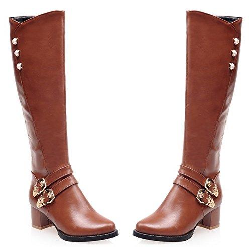 High Fashion Aisun Women's Boots Chunky Mid Zipper Brown Riding Heels Knee Side zHw6qH