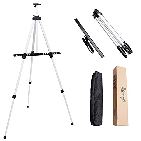66 Inch Folding Aluminum Easel - Lightweight Tabletop Art Standing Easels for Adults&Kids Painting on Canvas,Board - Telescoping Floor Easel by Bianyo (Aluminum Painters Easel)