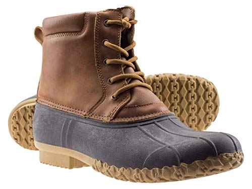ArcticShield Mens Durable Waterproof Insulated Rain Snow Duck Bean Boots (9 M US Mens, Tan)