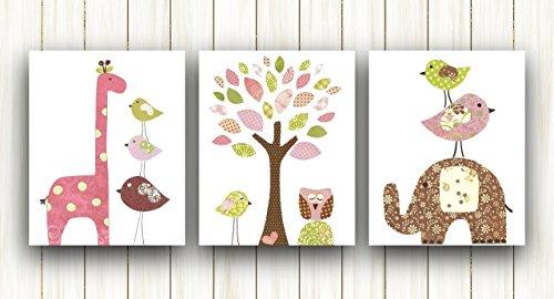 Nursery decor kids wall art - Baby Girl Nursery Art - Set of three prints - Elephant Owl Tree Birds pink, brown and green