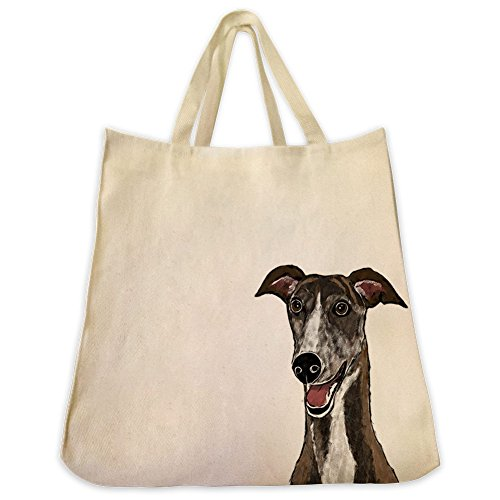 Greyhound Tote Bags   Over 200 Different Breed And Animal Designs To Choose From   Extra Large 100  Cotton Over The Shoulder Handbags   Painted By Hand And Printed In The U S A